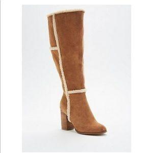 NWT Torrid Faux SuedeShearling Trim Heel Boots 6W